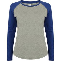 Vêtements Femme T-shirts manches longues Skinni Fit Baseball Gris chiné/Bleu roi