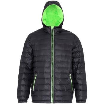 Vêtements Homme Doudounes 2786 Hooded Noir/ Vert citron