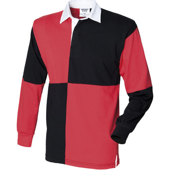 Vêtements Homme Polos manches longues Front Row Rugby Noir/Rouge (col blanc)
