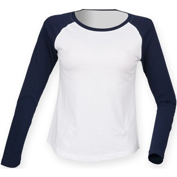 Vêtements Femme T-shirts manches longues Skinni Fit Baseball Blanc/Bleu marine