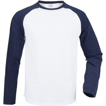 Vêtements Homme T-shirts manches longues Skinni Fit Baseball Blanc/bleu marine