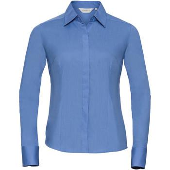Vêtements Femme Chemises / Chemisiers Russell Chemise à Manches Courtes manches longues en popeline BC1017 Bleu clair