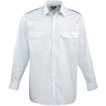 Vêtements Homme Chemises manches longues Premier PR210 Bleu clair