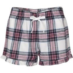 Vêtements Femme Shorts / Bermudas Skinni Fit Tartan Blanc/Rose careaux