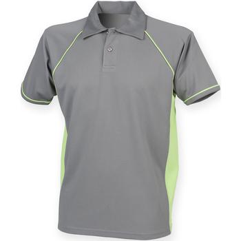 Vêtements Homme Polos manches courtes Finden & Hales Piped Gris/Vert citron