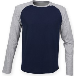 Vêtements Homme T-shirts manches longues Skinni Fit Baseball Bleu marine/gris chiné