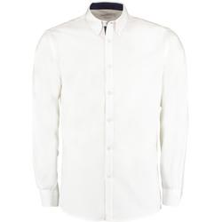 Vêtements Homme Chemises manches longues Kustom Kit Oxford Blanc/Bleu marine