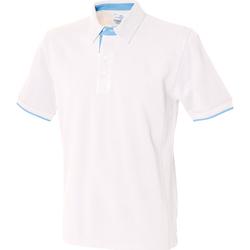 Vêtements Homme Polos manches courtes Front Row Contrast Blanc/Bleu ciel