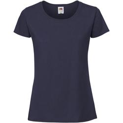 Vêtements Femme T-shirts manches courtes Fruit Of The Loom Premium Bleu marine