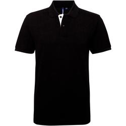 Vêtements Homme Polos manches courtes Asquith & Fox Contrast Noir/Blanc