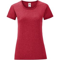 Vêtements Femme T-shirts manches courtes Fruit Of The Loom Iconic Rouge chiné