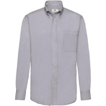 Vêtements Homme Chemises manches longues Fruit Of The Loom Oxford Gris