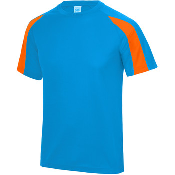 Vêtements Enfant T-shirts manches courtes Just Cool Contrast Bleu saphir/Orange électrique