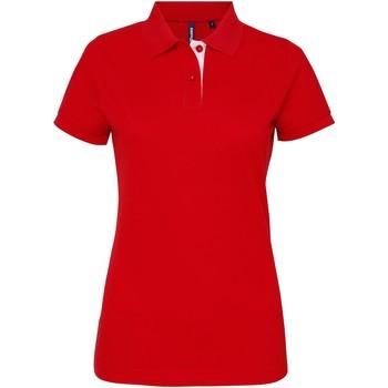 Vêtements Femme Polos manches courtes Asquith & Fox Contrast Rouge/Blanc