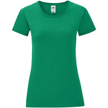 Vêtements Femme T-shirts manches courtes Fruit Of The Loom Iconic Vert foncé chiné