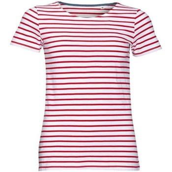 Vêtements Femme T-shirts manches courtes Sols Striped Blanc / rouge