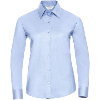Vêtements Femme Chemises / Chemisiers Russell Collection Chemisier à manches longues BC1022 Bleu clair