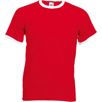 Vêtements Homme T-shirts manches courtes Fruit Of The Loom 61168 Rouge/ Blanc