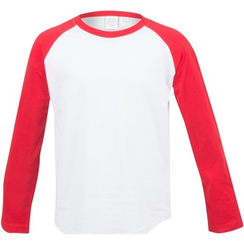 Vêtements Enfant T-shirts manches longues Skinni Fit Baseball Blanc/Rouge