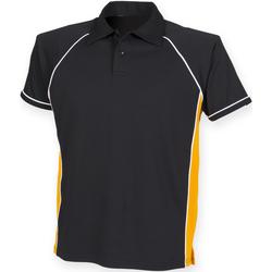Vêtements Homme Polos manches courtes Finden & Hales Piped Noir/Orange/Blanc