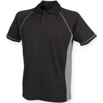 Vêtements Homme Polos manches courtes Finden & Hales Piped Noir/Gris