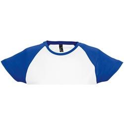 Vêtements Femme T-shirts manches courtes Sols Milky Blanc/Bleu roi