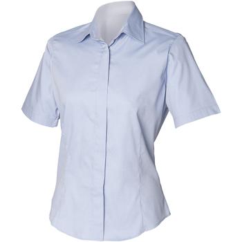 Vêtements Homme Chemises manches courtes Henbury Oxford Bleu clair