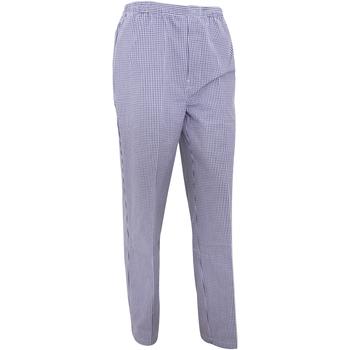 Vêtements Pantalons fluides / Sarouels Premier Work Carreaux blancs et bleu marine