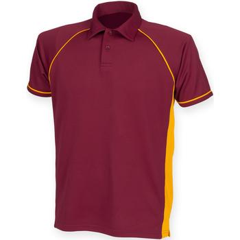 Vêtements Homme Polos manches courtes Finden & Hales Piped Bordeaux/Orange/Orange