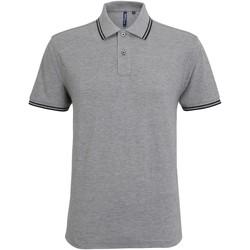 Vêtements Homme Polos manches courtes Asquith & Fox Classics Gris chiné/noir