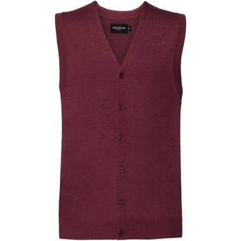 Vêtements Homme Gilets / Cardigans Russell Collection gilet débardeur sans manche avec col en V RW6080 Cramoisie