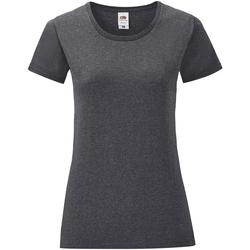 Vêtements Femme T-shirts manches courtes Fruit Of The Loom Iconic Gris foncé chiné