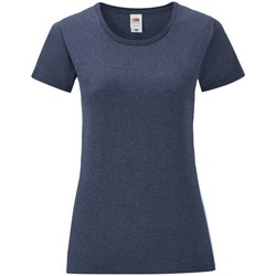 Vêtements Femme T-shirts manches courtes Fruit Of The Loom Iconic Bleu marine chiné