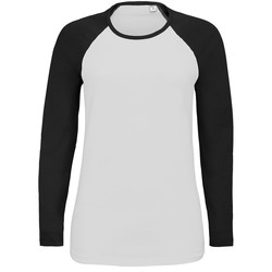 Vêtements Femme T-shirts manches longues Sols Contrast Blanc/Noir