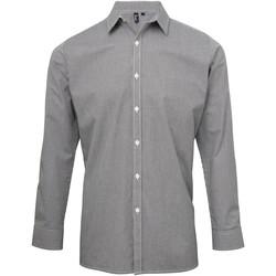 Vêtements Homme Chemises manches longues Premier Microcheck Noir/Blanc