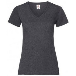 Vêtements Femme T-shirts manches courtes Fruit Of The Loom 61398 Gris foncé chiné