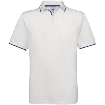 Vêtements Homme Polos manches courtes B And C Safran Blanc/Bleu roi