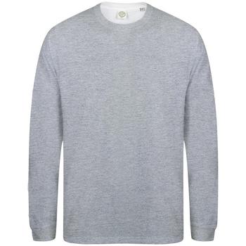Vêtements Homme T-shirts manches longues Skinni Fit Slogan Gris chiné