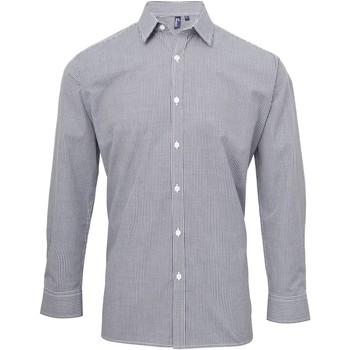 Vêtements Homme Chemises manches longues Premier Microcheck Bleu marine/Blanc