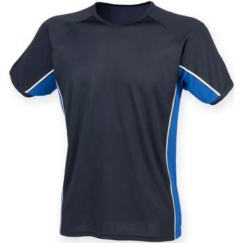 Vêtements Homme T-shirts manches courtes Finden & Hales Performance Bleu marine/Bleu roi/Blanc
