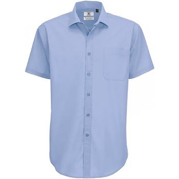 Vêtements Homme Chemises manches courtes B And C SMP62 Bleu clair