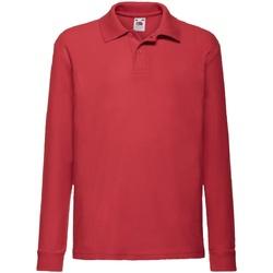 Vêtements Enfant Polos manches longues Fruit Of The Loom Pique Rouge