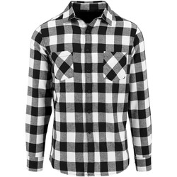 Vêtements Homme Chemises manches longues Build Your Brand Checked Noir/Blanc
