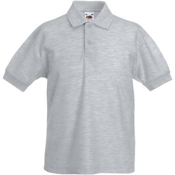 Vêtements Garçon Polos manches courtes Fruit Of The Loom Pique Gris