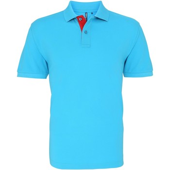 Vêtements Homme Polos manches courtes Asquith & Fox Contrast Turquoise/Rouge