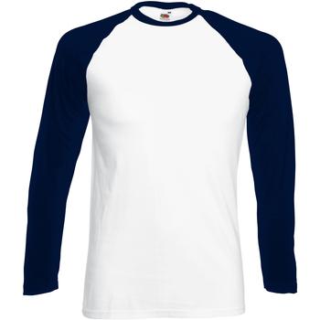 Vêtements Homme T-shirts manches longues Fruit Of The Loom 61028 Blanc/Bleu marine profond