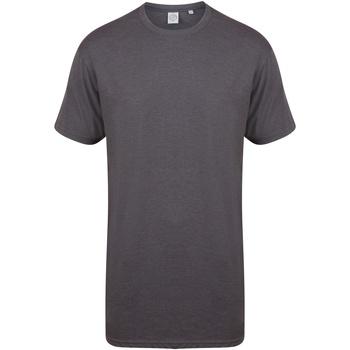 Vêtements Homme T-shirts manches courtes Skinni Fit Dipped Hem Gris foncé chiné