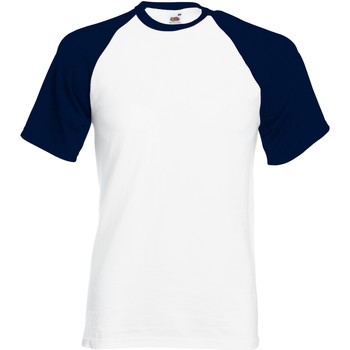 Vêtements Homme T-shirts manches courtes Fruit Of The Loom Baseball Blanc/Bleu marine profond