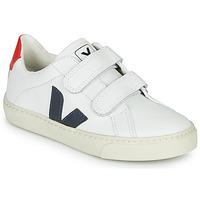 Chaussures Garçon Baskets basses Veja SMALL-ESPLAR-VELCRO Blanc / Bleu / Rouge