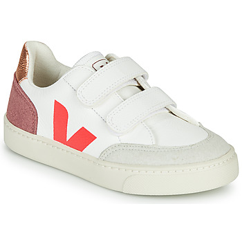 Chaussures Fille Baskets basses Veja SMALL V-12 VELCRO Blanc / Rose / Doré